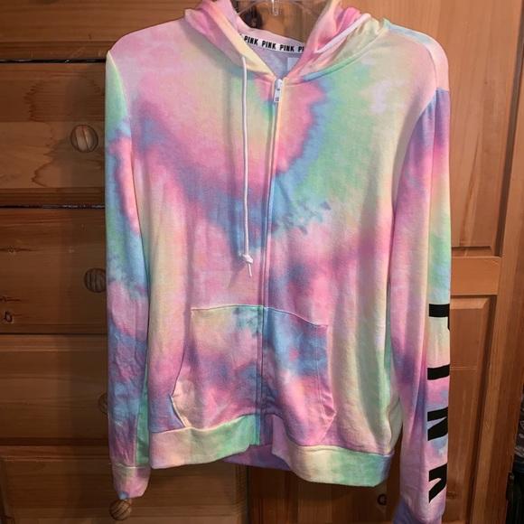 7528c1c32277b Tie Dye Rainbow Neon Cozy Full Zip Hoodie VS Pink